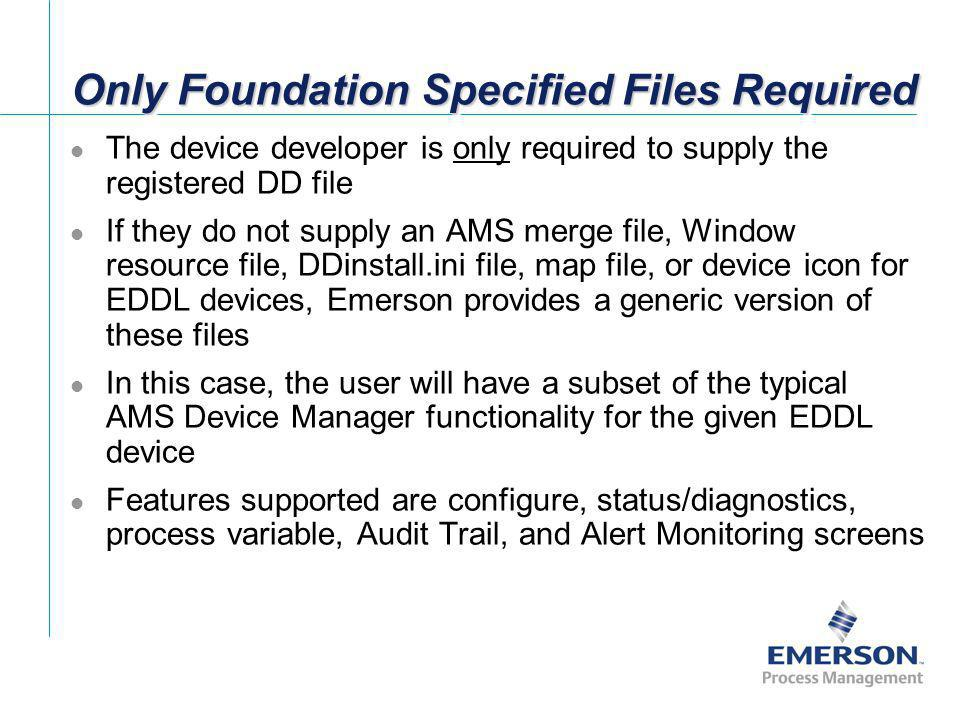 Only Foundation Specified Files Required