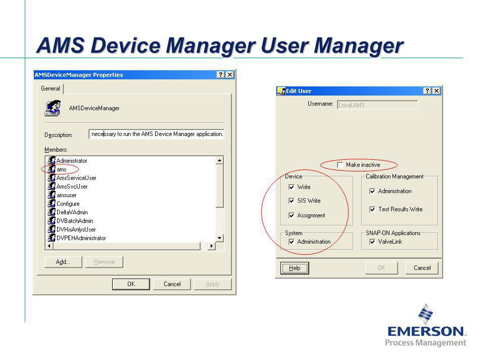 AMS Device Manager User Manager