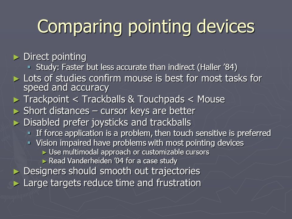 Comparing pointing devices