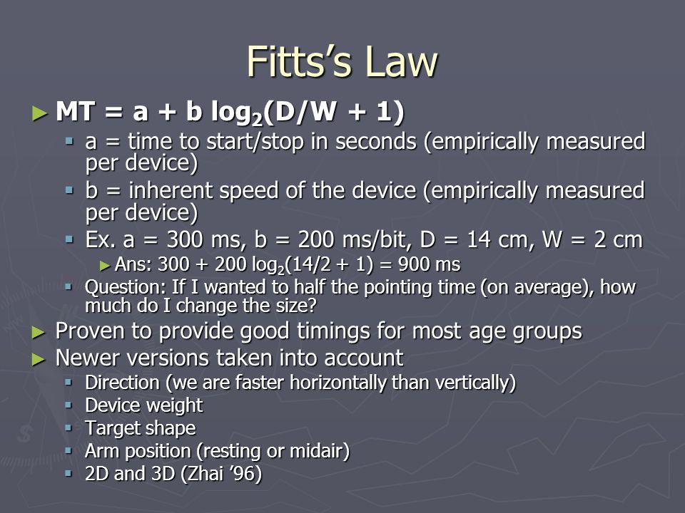 Fitts's Law MT = a + b log2(D/W + 1)