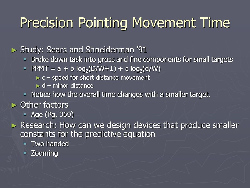 Precision Pointing Movement Time