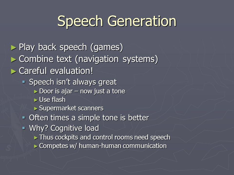 Speech Generation Play back speech (games)