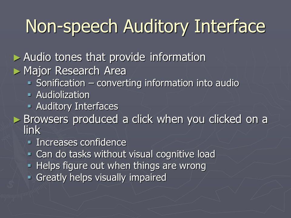 Non-speech Auditory Interface