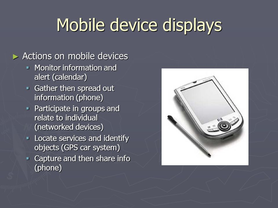 Mobile device displays