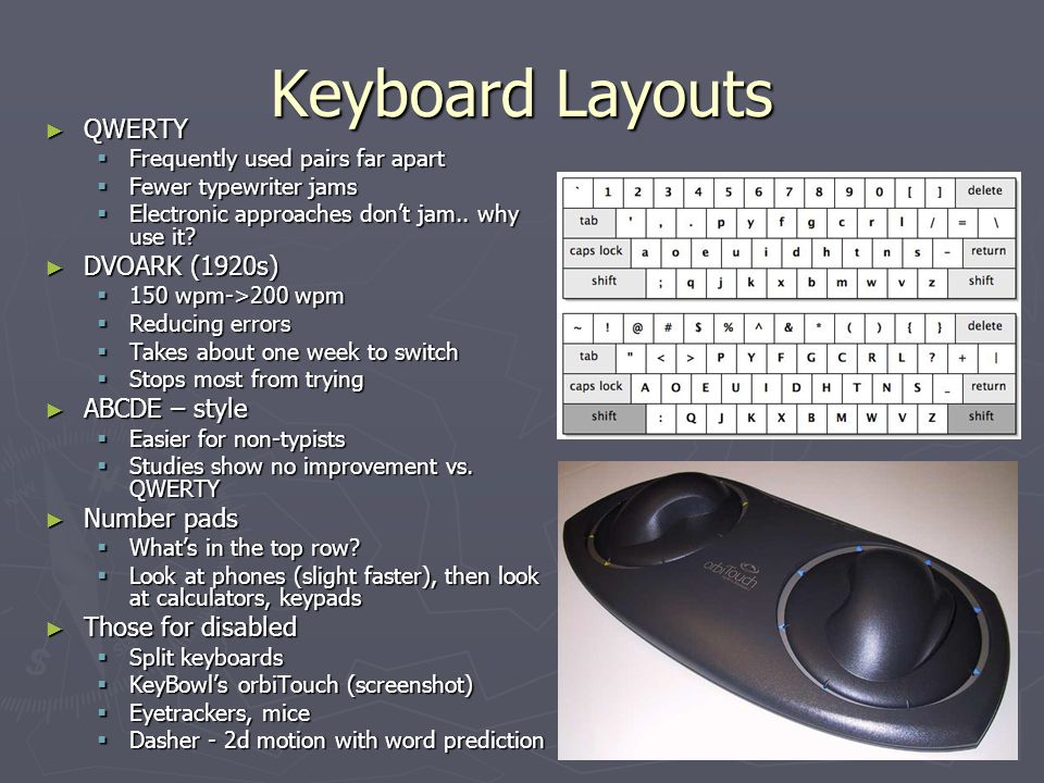 Keyboard Layouts QWERTY DVOARK (1920s) ABCDE – style Number pads