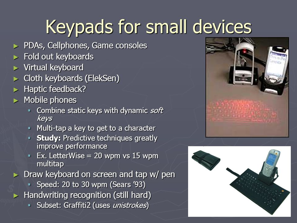 Keypads for small devices