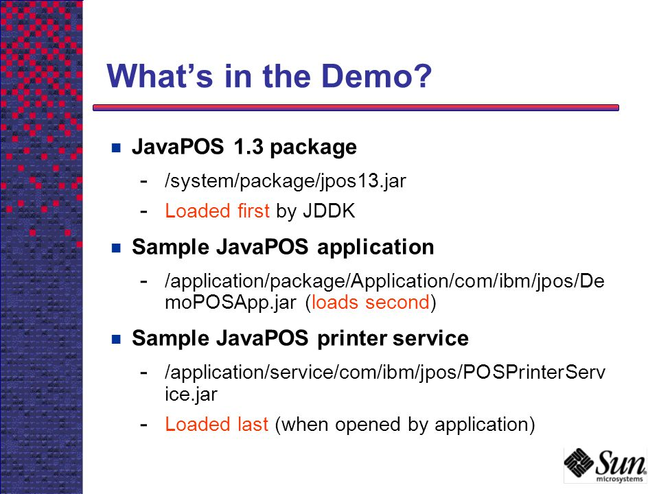 What's in the Demo JavaPOS 1.3 package Sample JavaPOS application