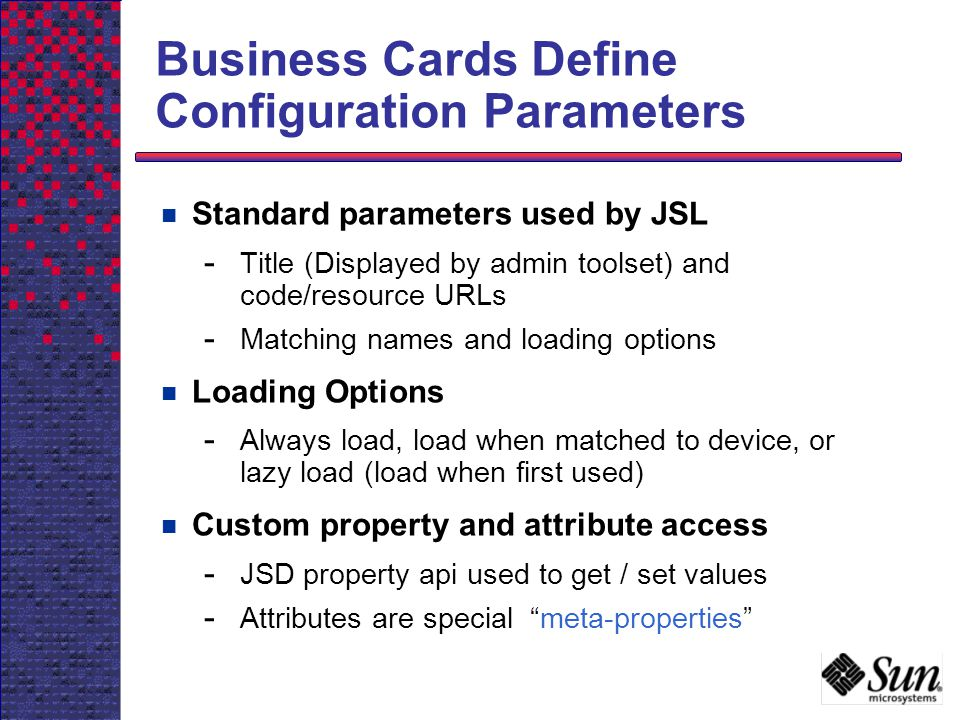 Business Cards Define Configuration Parameters