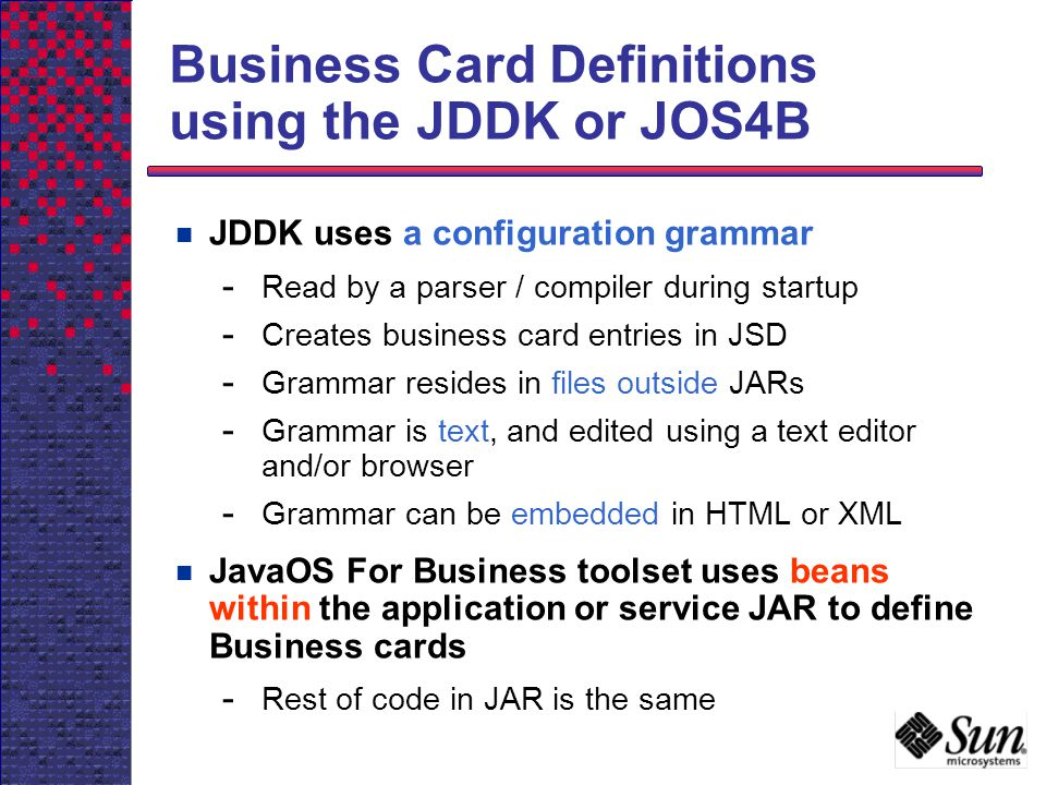 Business Card Definitions using the JDDK or JOS4B