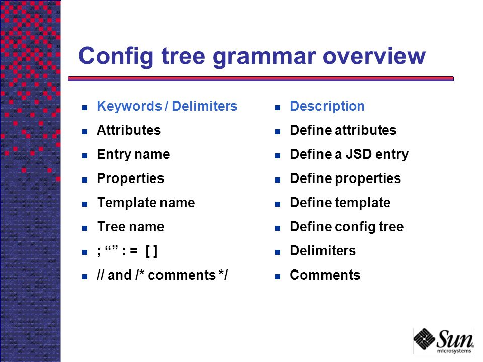 Config tree grammar overview