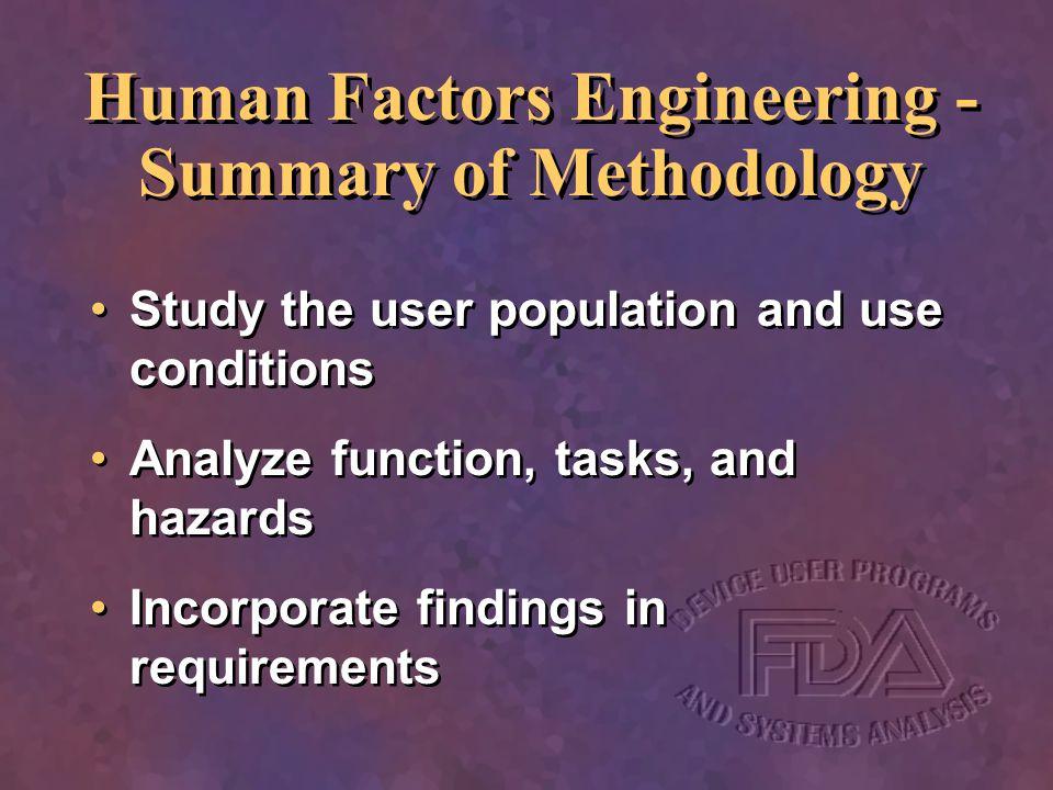Human Factors Engineering - Summary of Methodology