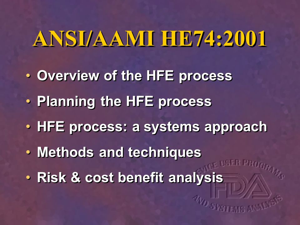 ANSI/AAMI HE74:2001 Overview of the HFE process