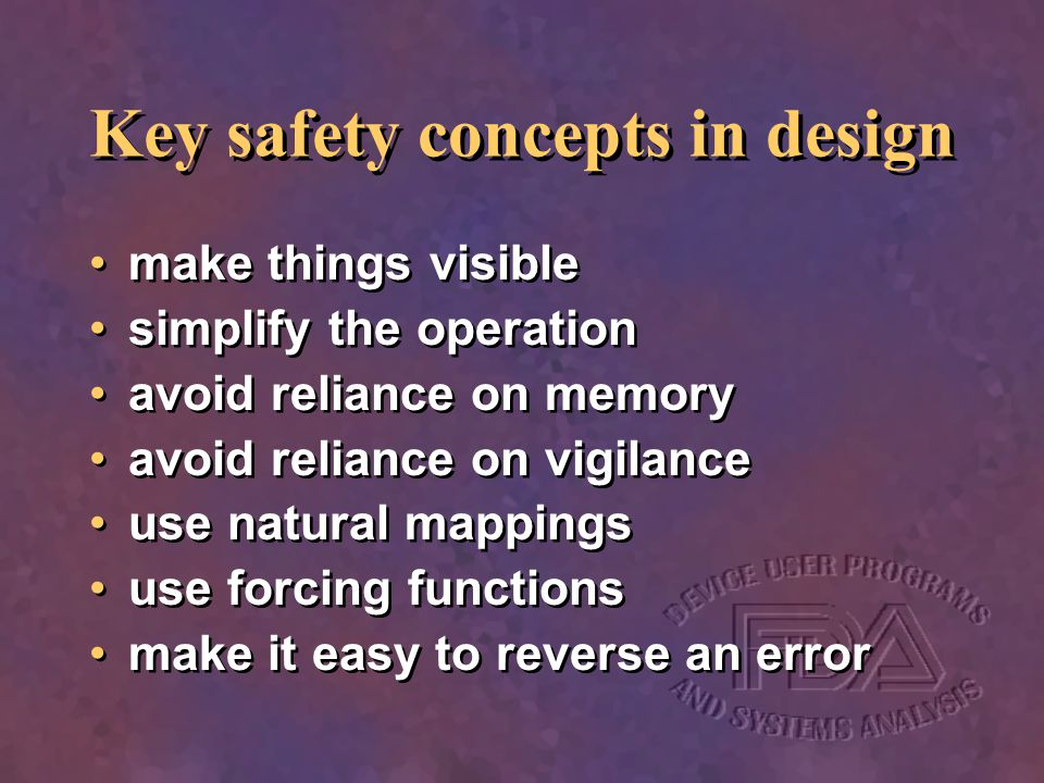 Key safety concepts in design