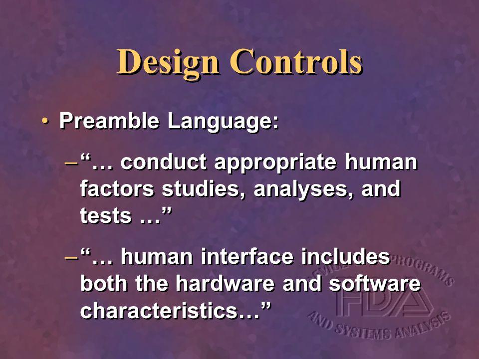 Design Controls Preamble Language: