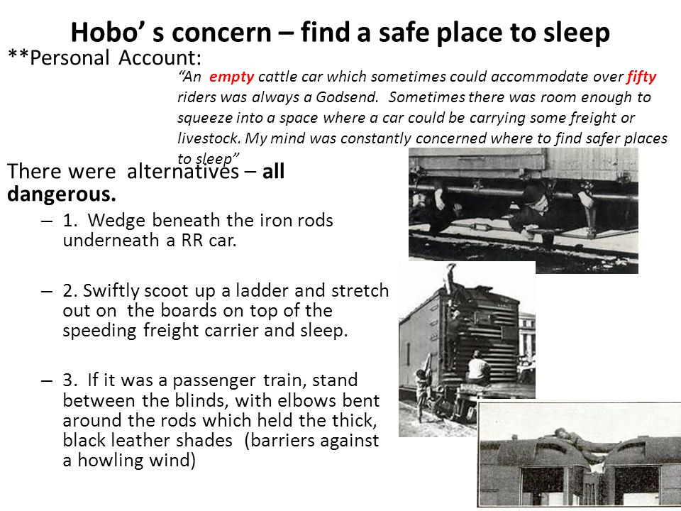 Hobo' s concern – find a safe place to sleep