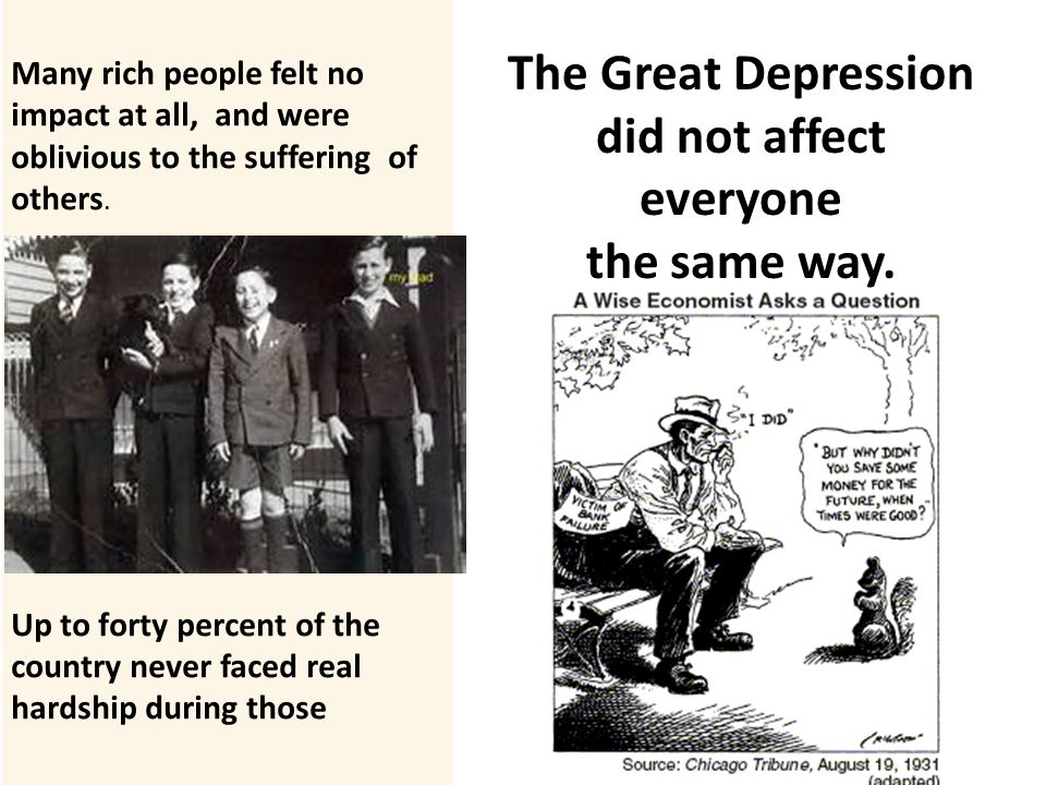 a glimpse at the impact of the great depression on the american children Focusing on life during the great depression, the information spans from 1929 to the early 1940s, before world war ii the guide is based on what life was like, ranging form personal experiences, to entertainment and other forms of distraction one of the more interesting aspects of the guide is focusing on the lives of children, who were forced.