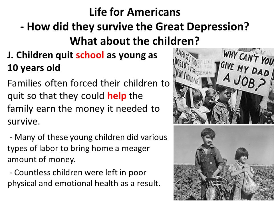 Life for Americans - How did they survive the Great Depression