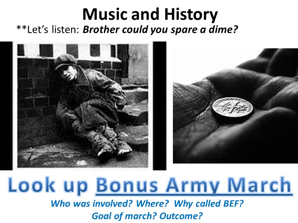 Who was involved Where Why called BEF Look up Bonus Army March