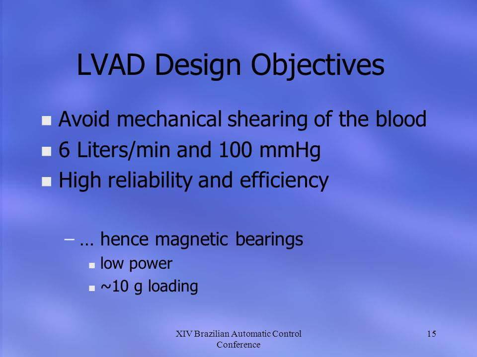 LVAD Design Objectives