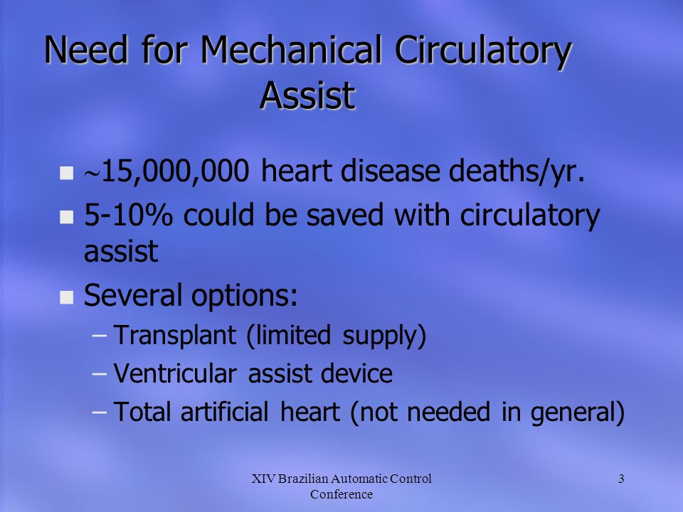 Need for Mechanical Circulatory Assist
