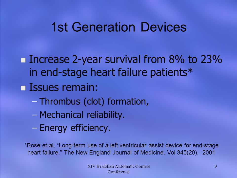 1st Generation Devices Increase 2-year survival from 8% to 23% in end-stage heart failure patients*