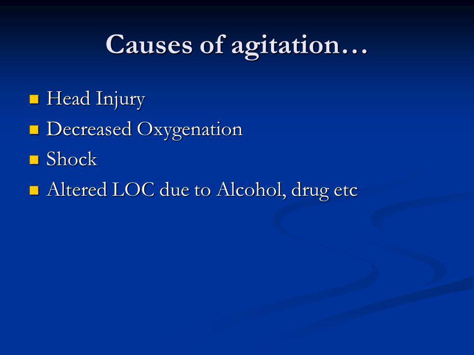 Causes of agitation… Head Injury Decreased Oxygenation Shock