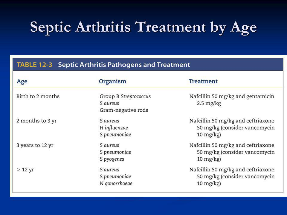 Septic Arthritis Treatment by Age