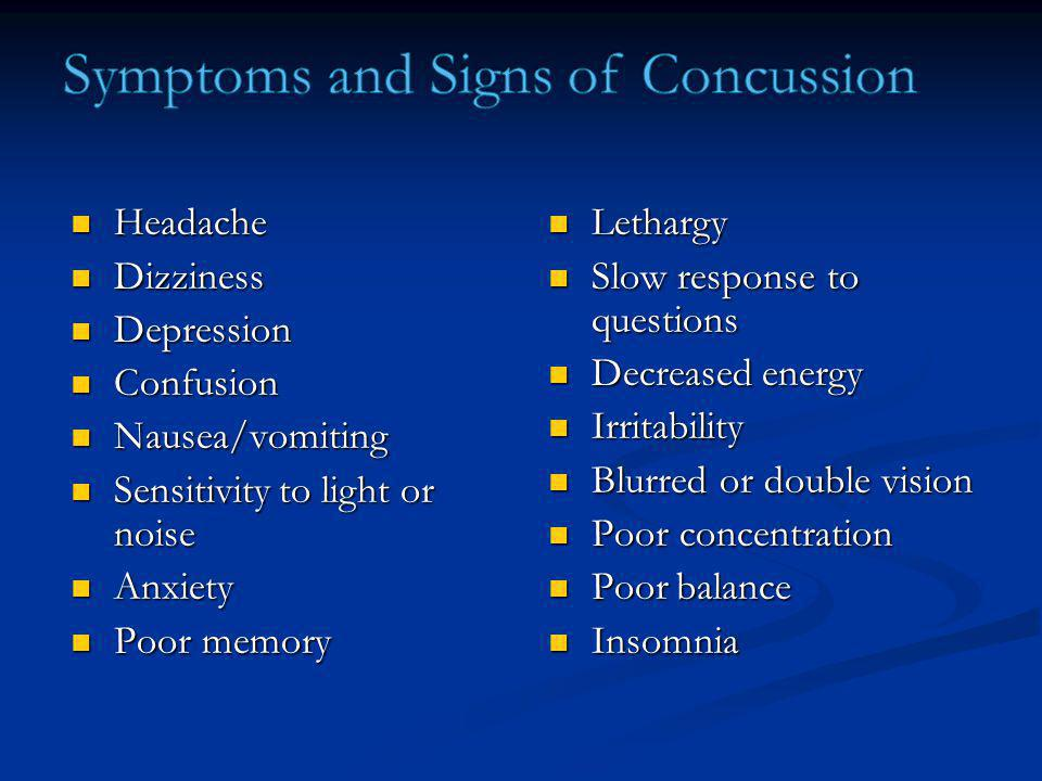 Symptoms and Signs of Concussion