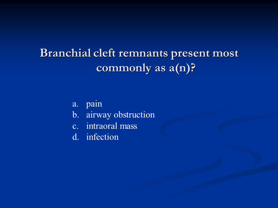 Branchial cleft remnants present most commonly as a(n)
