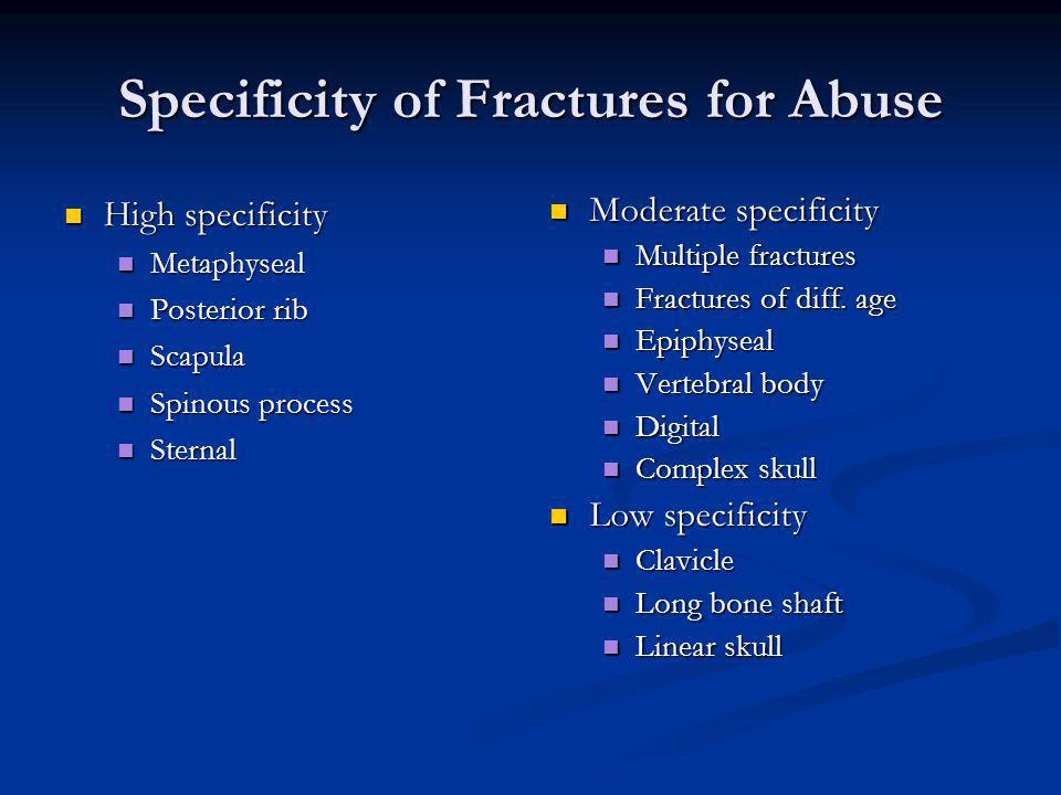 Specificity of Fractures for Abuse