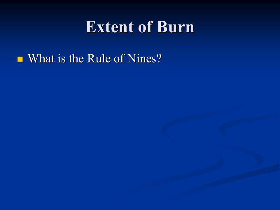 Extent of Burn What is the Rule of Nines