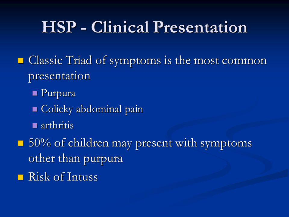 HSP - Clinical Presentation
