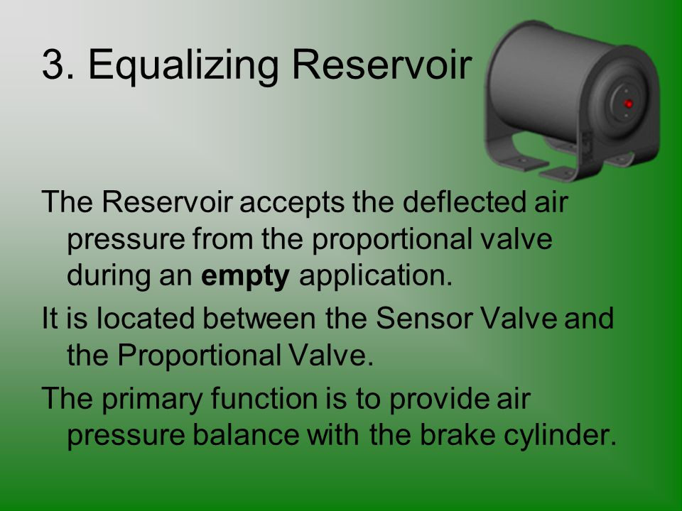 3. Equalizing Reservoir The Reservoir accepts the deflected air pressure from the proportional valve during an empty application.