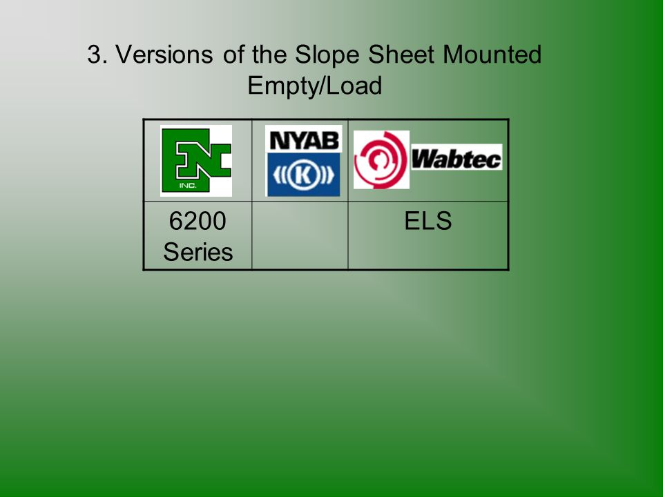 3. Versions of the Slope Sheet Mounted Empty/Load