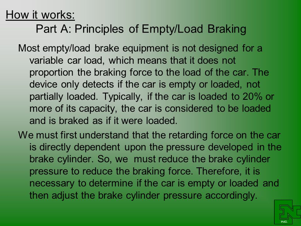 How it works: Part A: Principles of Empty/Load Braking