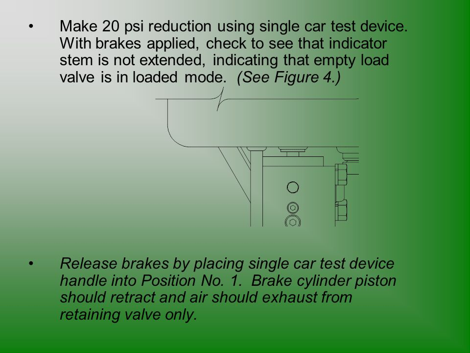 Make 20 psi reduction using single car test device