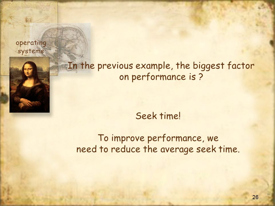 In the previous example, the biggest factor on performance is