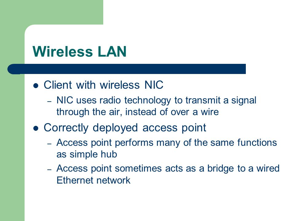 Wireless LAN Client with wireless NIC Correctly deployed access point
