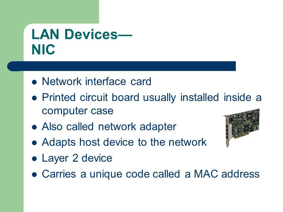 LAN Devices— NIC Network interface card