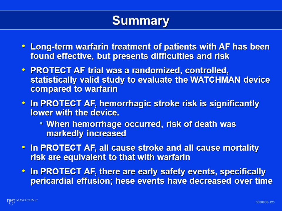 Summary Long-term warfarin treatment of patients with AF has been found effective, but presents difficulties and risk.