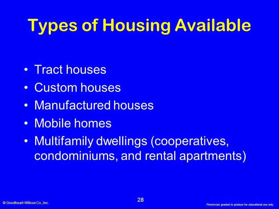 Types of Housing Available