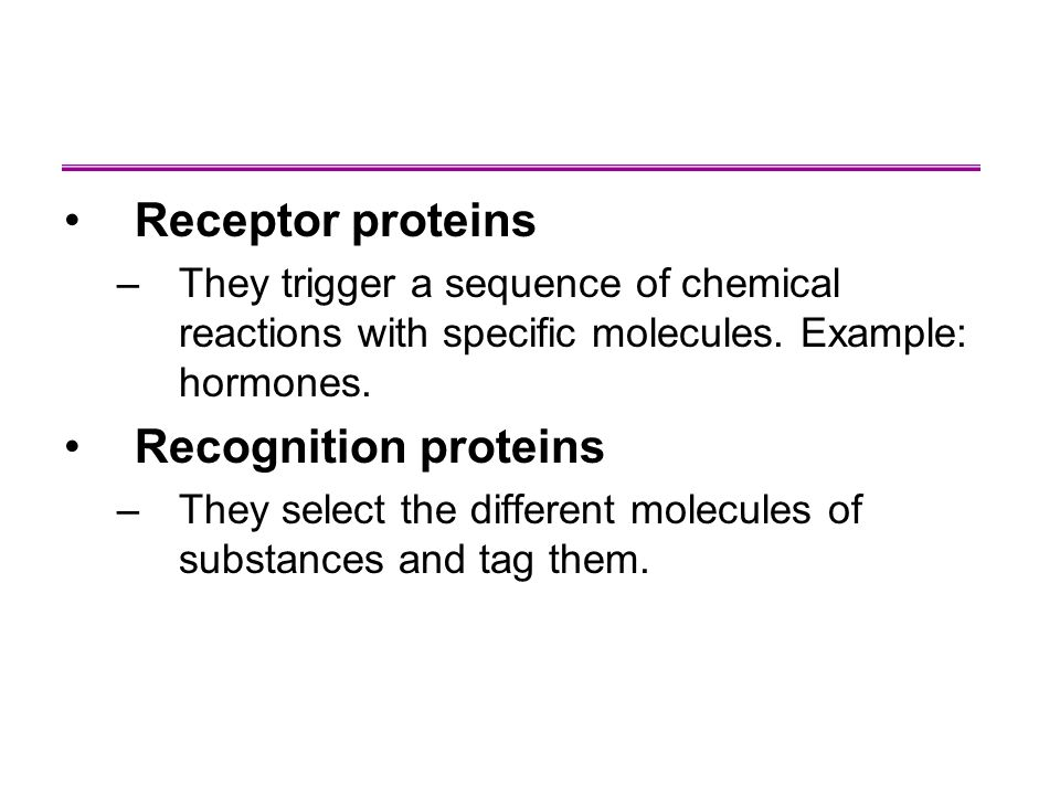 Receptor proteins Recognition proteins