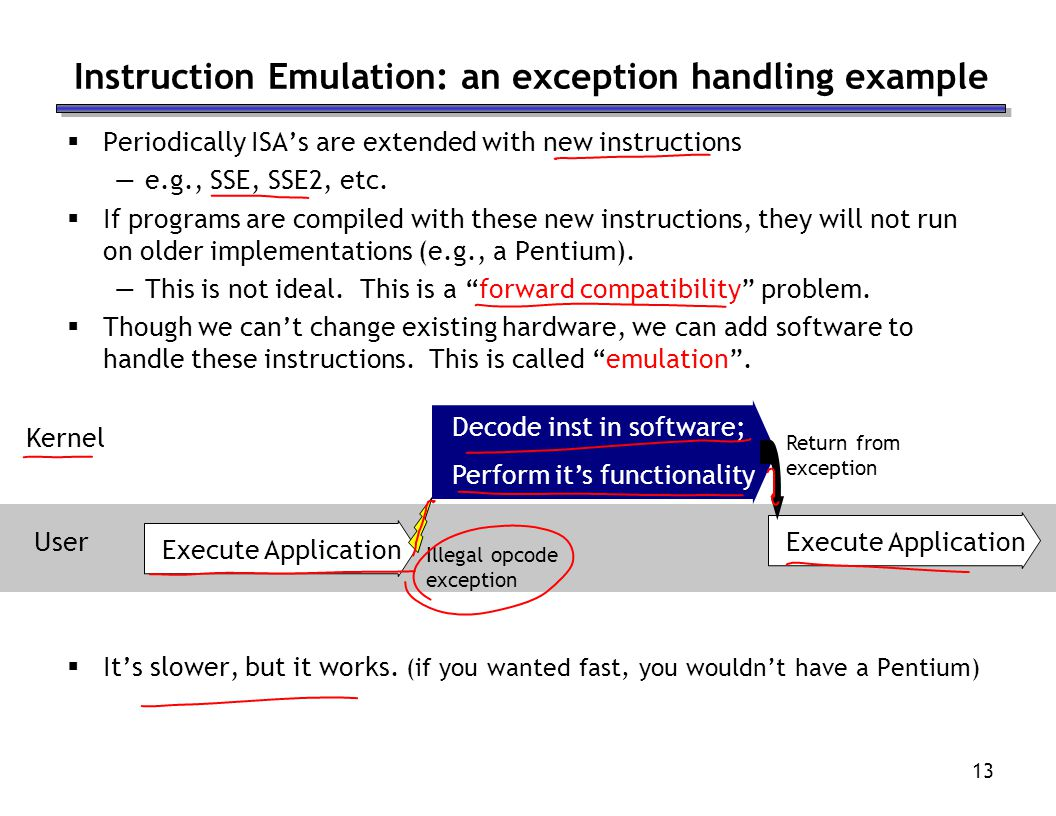 Instruction Emulation: an exception handling example