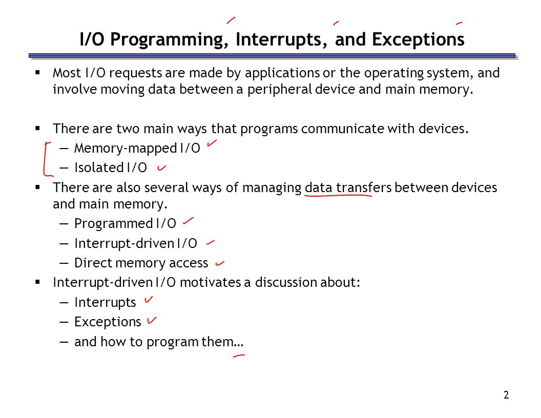 I/O Programming, Interrupts, and Exceptions