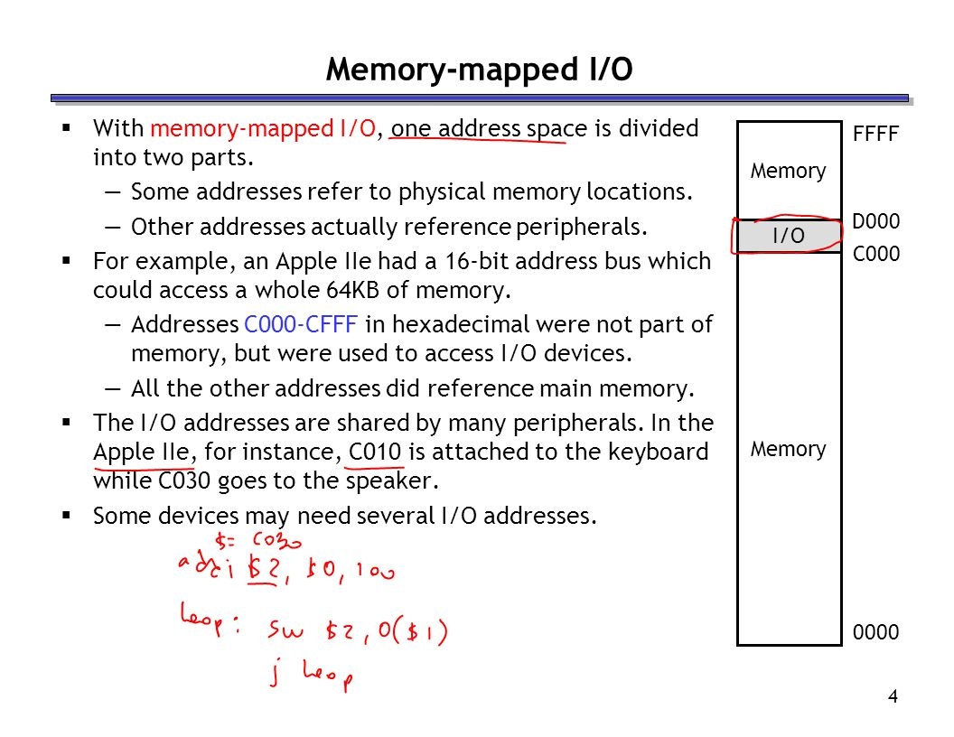 Memory-mapped I/O With memory-mapped I/O, one address space is divided into two parts. Some addresses refer to physical memory locations.