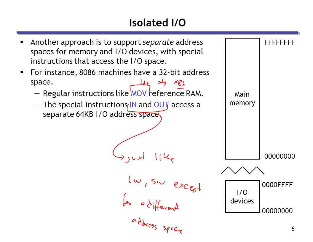Isolated I/O Another approach is to support separate address spaces for memory and I/O devices, with special instructions that access the I/O space.
