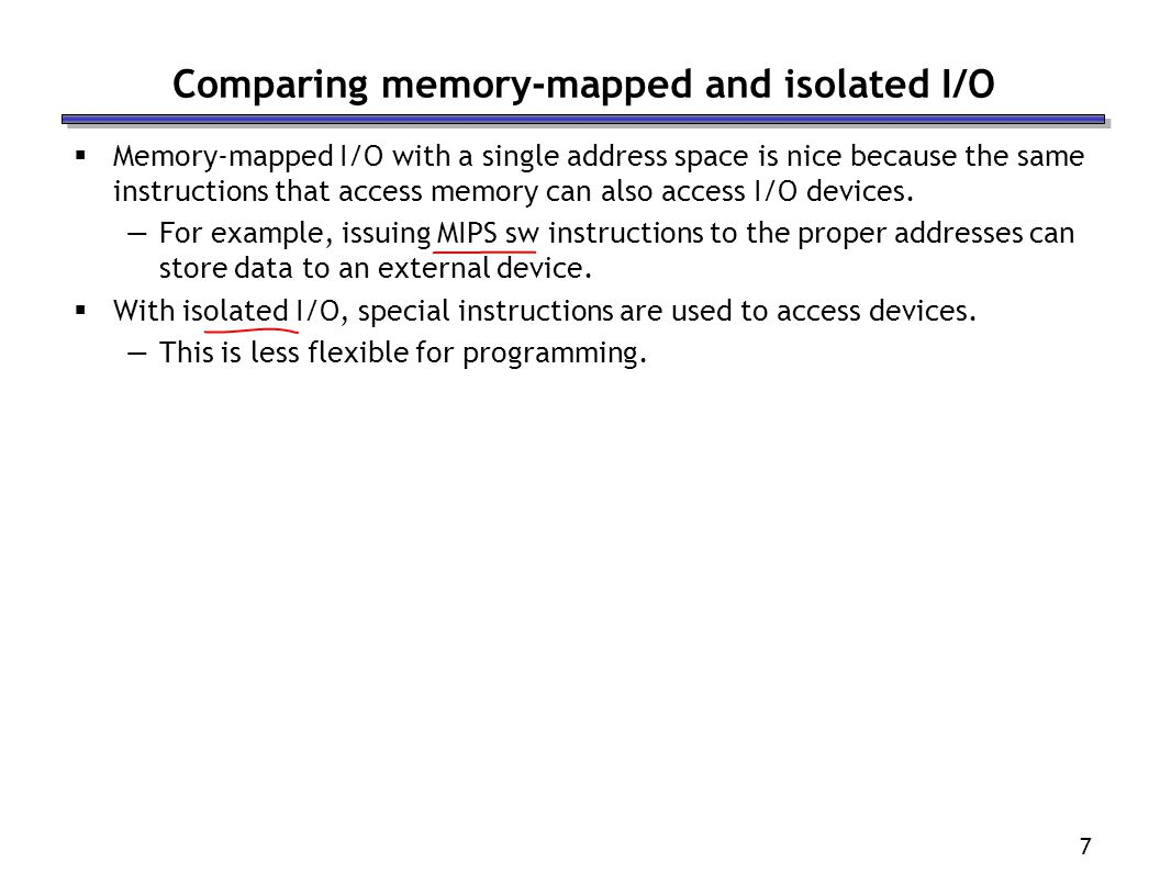 Comparing memory-mapped and isolated I/O