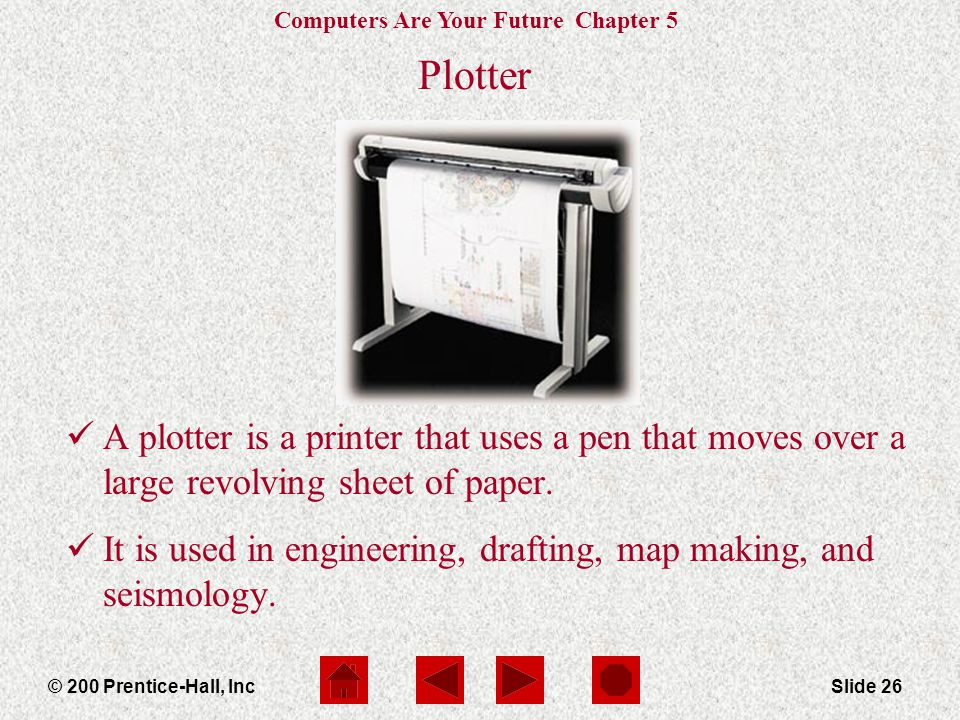 Plotter A plotter is a printer that uses a pen that moves over a large revolving sheet of paper.