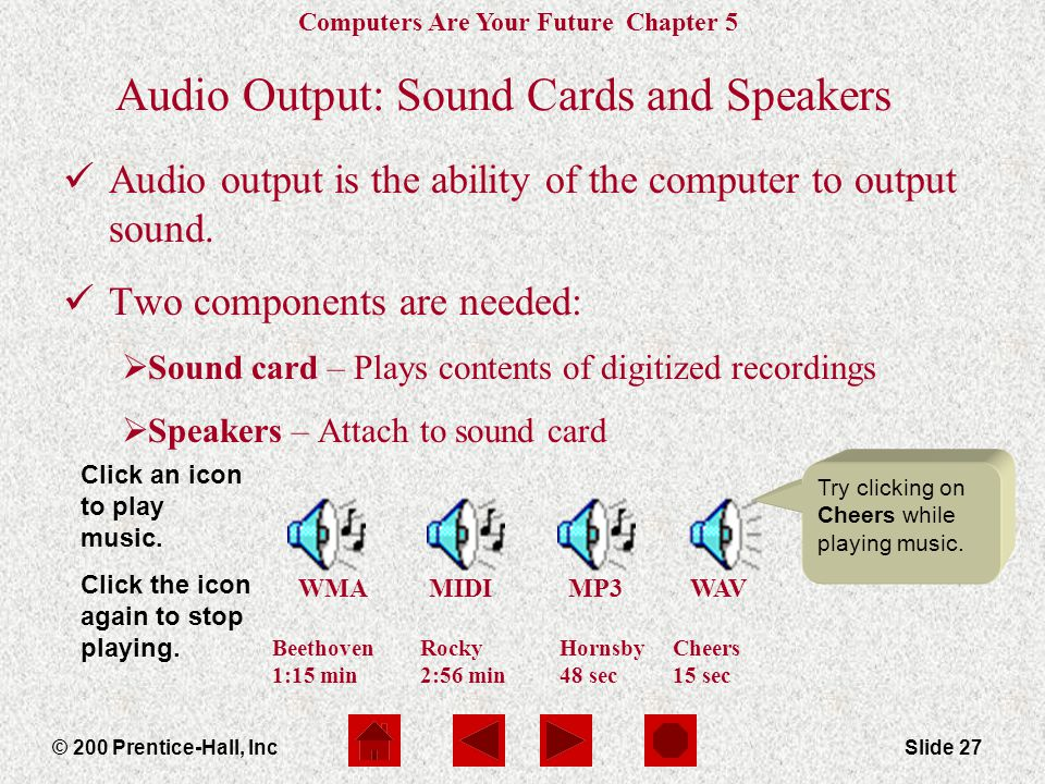 Audio Output: Sound Cards and Speakers