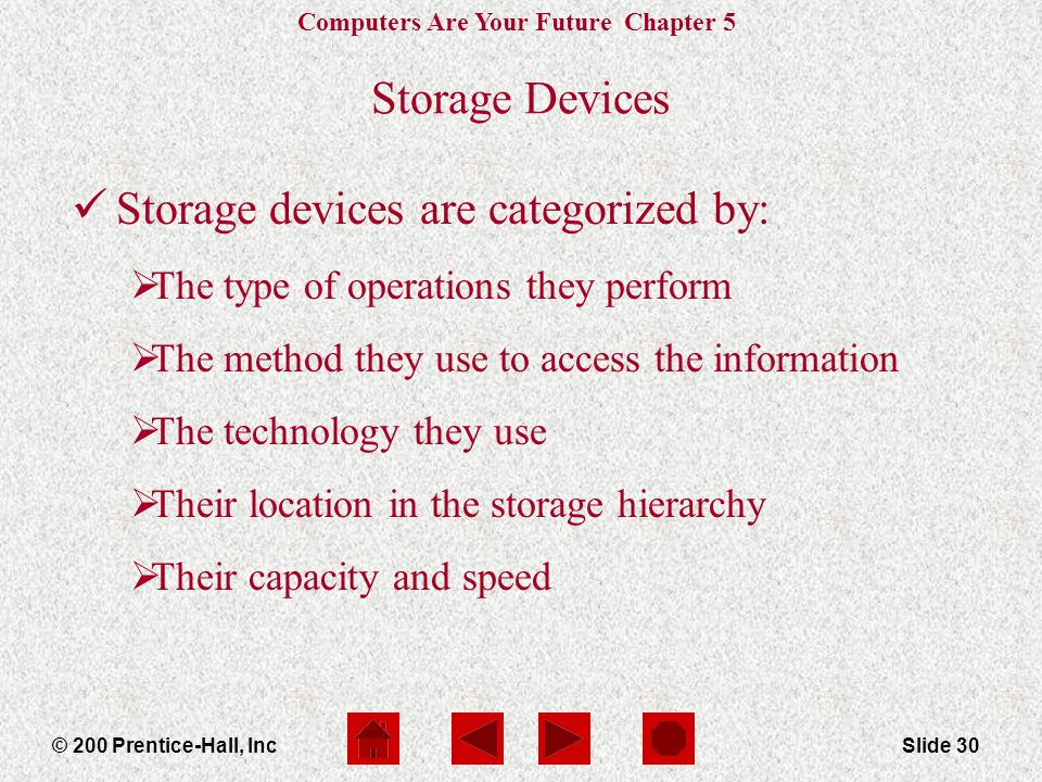 Storage devices are categorized by: